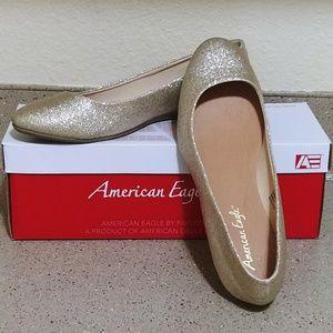 American Eagle gold glitter ballet flats